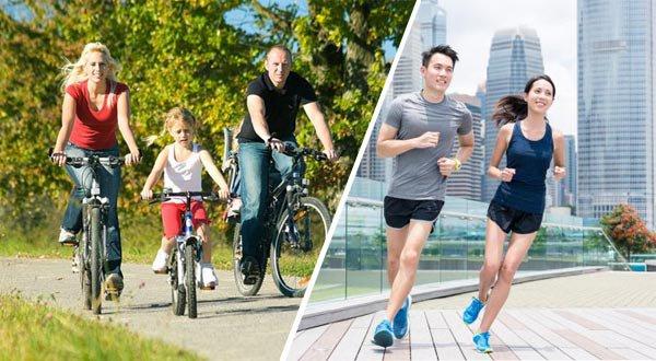 Đạp xe và chạy bộ